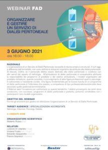Sono aperte le iscrizioni al nuovo webinar che si terrà il 03/06/2021: organizzare e gestire un servizio di dialisi peritoneale